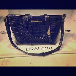 Brahmin Black Mini Asher Satchel
